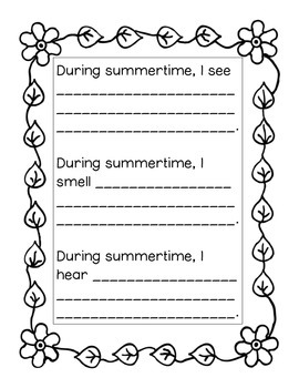 Summer Coloring and Writing Worksheets