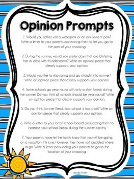 Summer Common Core Writing {Opinion, Informative, and Narrative Writing}
