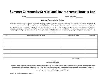 Summer Community Service and Environmental Impact Log