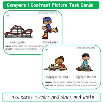 Summer Compare and Contrast Picture Task Cards