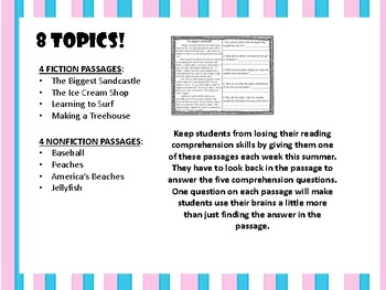 Summer Comprehension Cold Reads