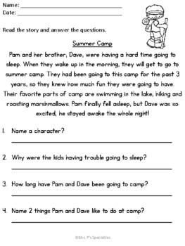 Summer Comprehension Pack