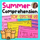 Summer Comprehension for Special Ed | Special Education an