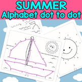 Summer Connect the Dots - Dot to Dot Alphabet Worksheets