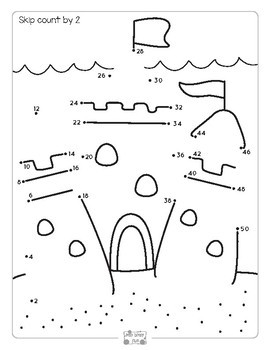 Summer Connect the Dots - Dot to Dot Skip Counting by 2, 5, 10 Worksheets