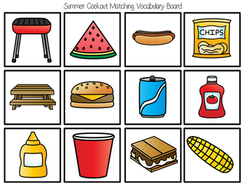 Summer Cookout Leveled Matching Tasks