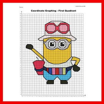 Summer Coordinate Graphing Picture: Minions-5