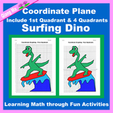 Summer Coordinate Graphing Picture: Surfing Dino
