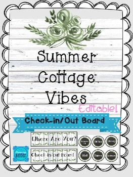 Summer Cottage Vibes: Check-in, Check-out Board (Editable)