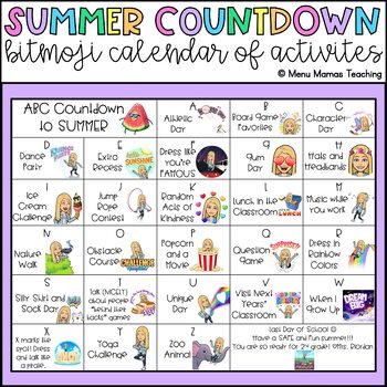 Countdown to the End of the Year: Bitmoji Calendar of Activities