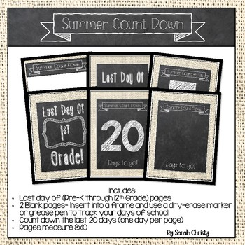 Summer Countdown FREEBIE: Burlap & Chalk