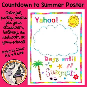 FREE Summer Countdown Days of School Left Until Summer time Poster for Classroom