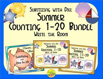 Summer Counting 1-20 Bundle {Subitizing with Dice}