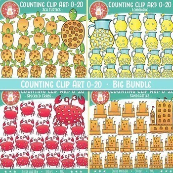 Summer Counting Clip Art 0-20 Bundle