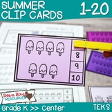 Summer Counting Clip Cards 1-20 | Kindergarten Math Centers | English & Spanish