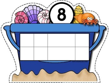 Summer Counting Mats 1-10 --- Sea Shell Counting Mats with Tens Frames