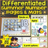 Summer Number Mats & Differentiated Counting Pages for # 1-20, Print & Digital