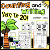 Summer Counting Sets & Writing Numbers to 20 Worksheets -