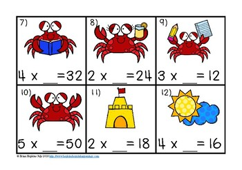 Summer Crabs Multiplication Missing Number Equations