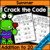 Summer Addition Practice - Crack the Math Code | Printable