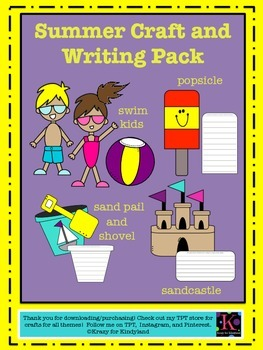 Summer / Beach Craft And Writing Pack: Kids, Shovel & Pail, Popsicle, Sandcastle
