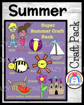 Summer Crafts Value Pack: Kids,Ball,Bee,Flower,Boat,Castle,Watermelon,Basket,Sun