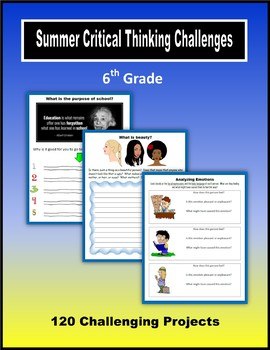 Summer Critical Thinking Challenges (6th Grade)