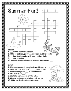 FREE End of Year - Summer Crossword