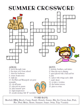 Summer Crossword Puzzle Color And Bw Versions By Celebration Station