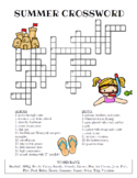 Summer Crossword Puzzle (Color and BW versions)