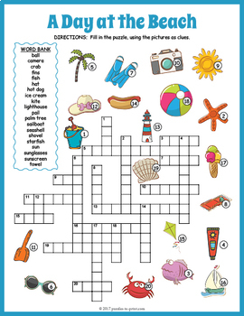 Summer Crossword Puzzle A Day At The Beach