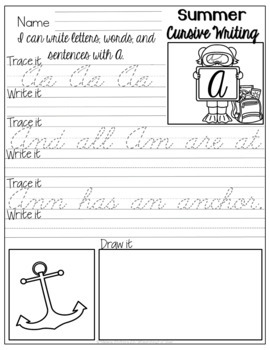 Summer Cursive Writing No-Prep