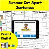 Summer Cut Apart Sentences Print and Digital | Worksheets