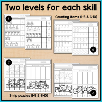 Summer Cut and Paste Math Worksheets for Special Education and Autism