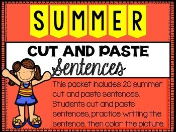 Summer Cut and Paste Sentences