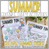 Summer Daily Activities Editable Freebie