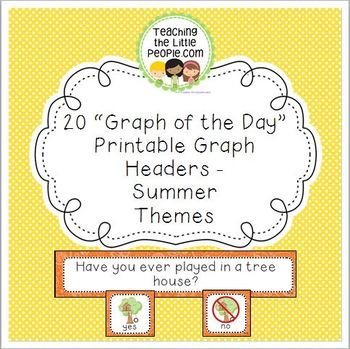 Summer Daily Graph Printables - 20 Full-Color Graph Questions