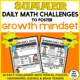 Summer Daily Math Challenges to Foster Growth Mindset - Fu