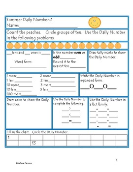 Daily Number--Summer Theme A Daily Activity to Reinforce Math Skills