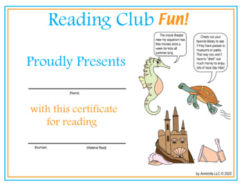 Summer Day Trip Reading Log and Certificate Set