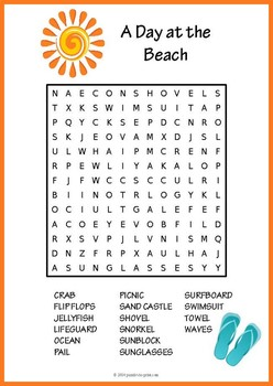 image about Summer Word Search Printable identified as Summer time Phrase Appear Worksheets Education Products TpT