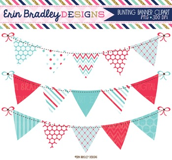 Summer Days Blue & Red Bunting Clipart