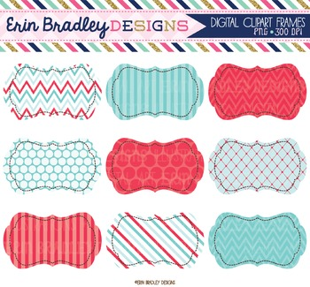 Summer Days Blue & Red Clipart Labels