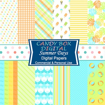 Retro Summer Days Digital Background Papers