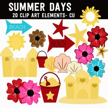 Summer Days Digital Fun Clip Art Illustrations Digital Graphics CU