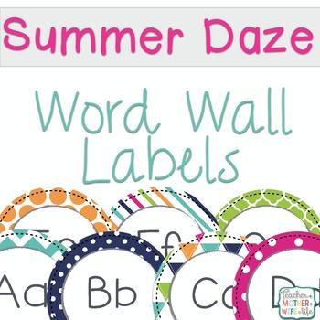 Word Wall Labels Summer School