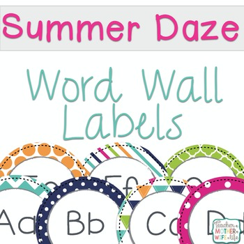 Word Wall Labels Summer School