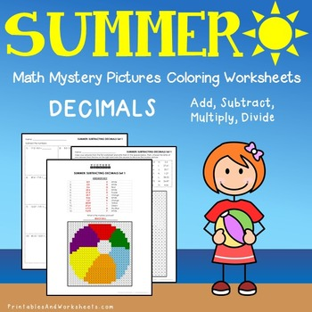 Summer Decimals Coloring Worksheets