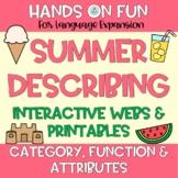 Summer Describing Webs Category Functions & Attributes Vocabulary Visuals!