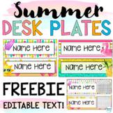 Summer Desk Name Tag Freebies | Summer Desk Name Plates |